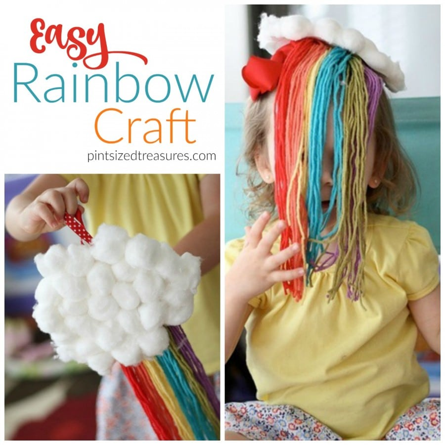easy rainbow craft with yarn
