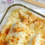 Smothered in cheese, butter and crumbs, this crazy delicious chicken casserole is an easy crowd-pleaser!