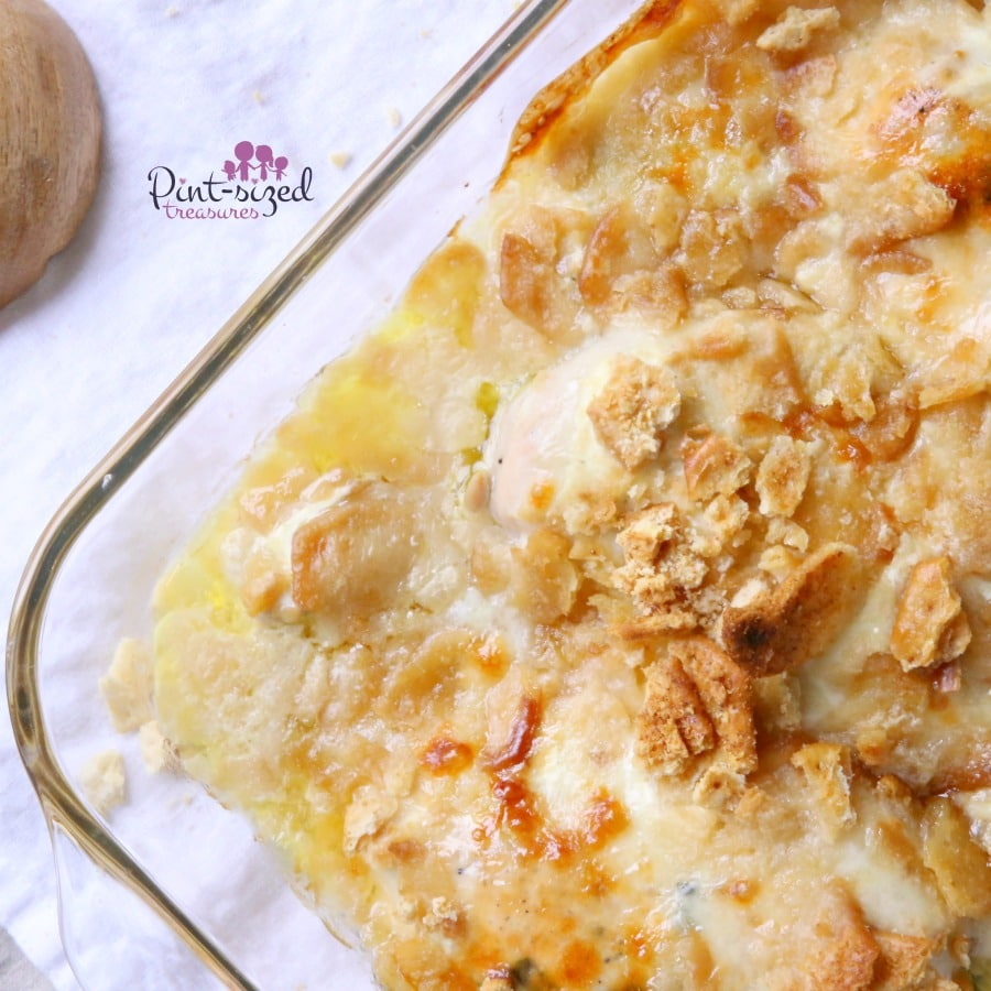 Easy crumb-topped chicken casserole that's topped with Swiss cheese, loads of butter and smothered in chicken broth. Ready in minutes!