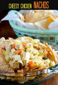cheesy, chicken nachos
