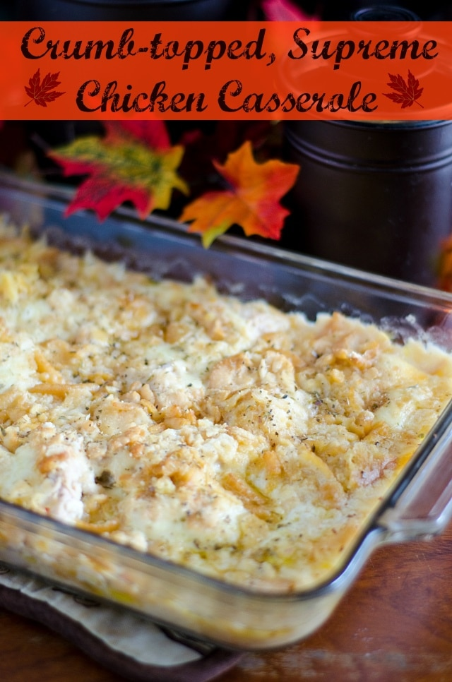 Easy crumb-topped chicken casserole that's loaded with cheese, butter and chicken broth! Ready in minutes!