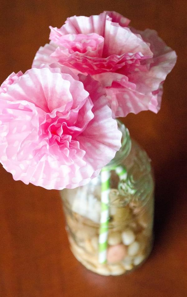 cupcake flowers in vase