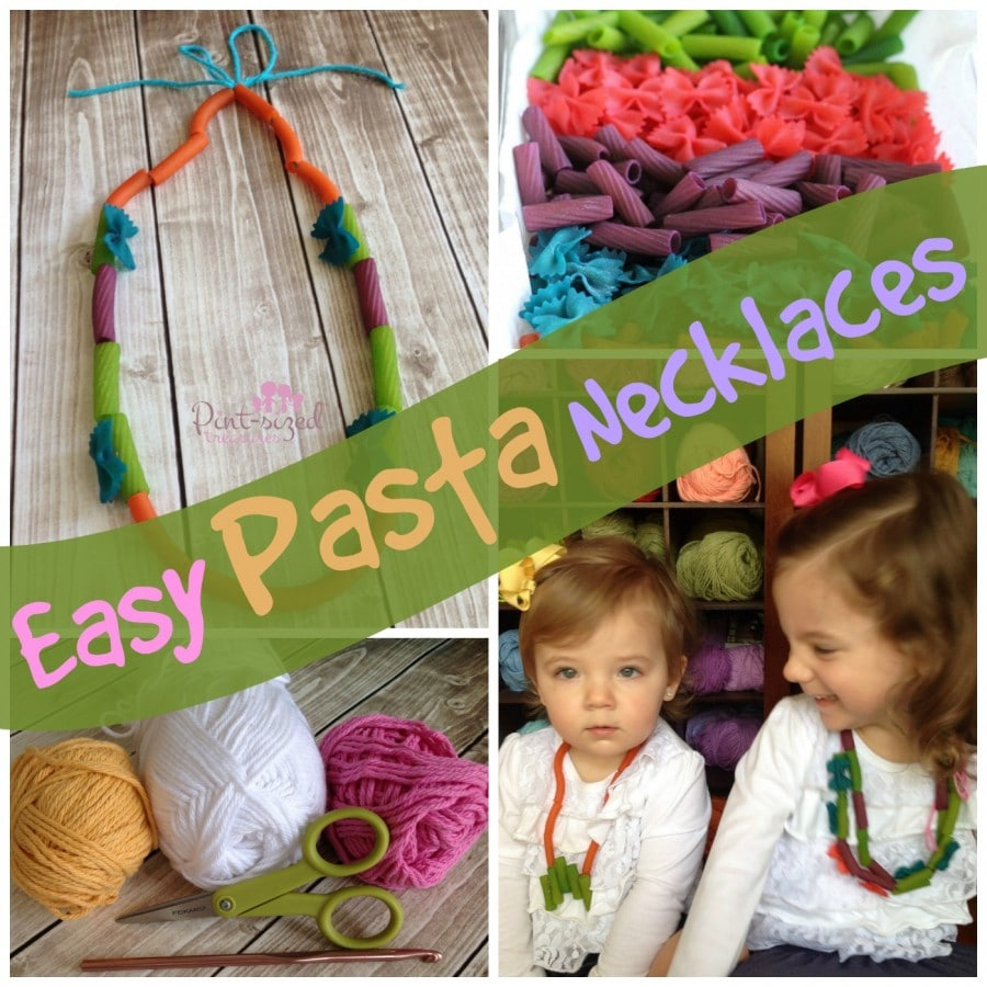 easy pasta necklace kids can make