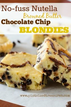 No-fuss, Nutella Browned Butter Chocolate Chip Blondies