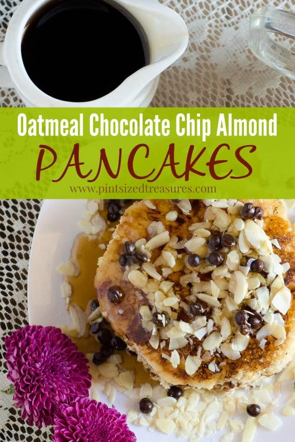 Oatmeal Chocolate Chip Almond Pancakes