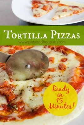 15-minute Tortilla Pizzas