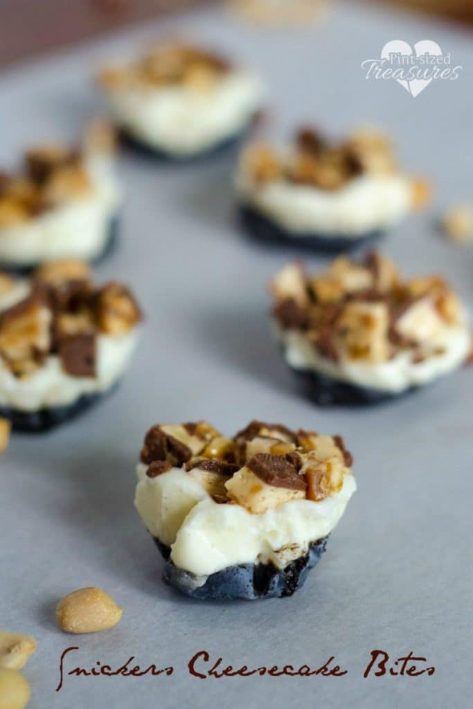 No-bake Snickers Cheesecake Bites
