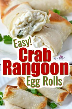 Oooh! Crab rangoon egg rolls are creamy, perfectly fried and a favorite appetizer at parties! #crabrangoon #appetizers #creamcheese #crab #crabappetizers #eggrolls #crabeggrolls #easyeggrolls #easyappetizers