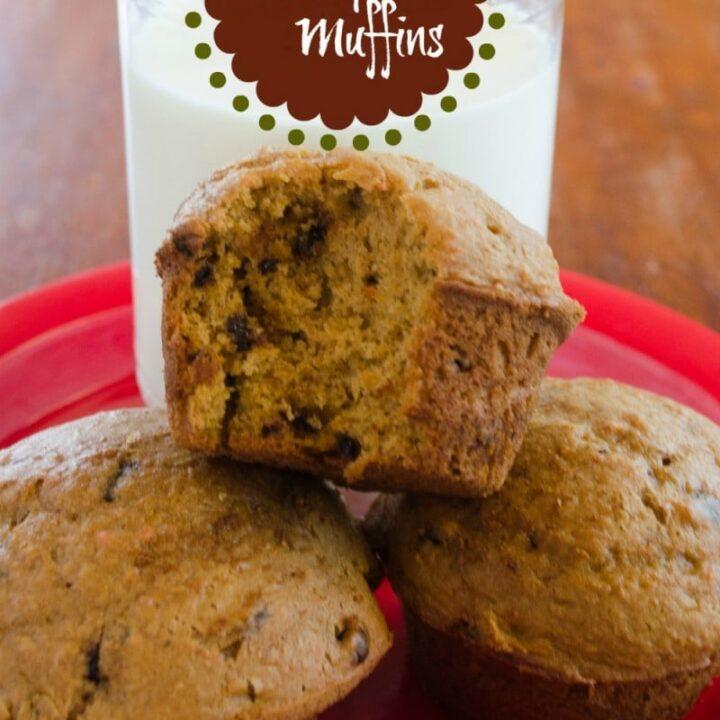 easy chocolate chip pumpkin muffins