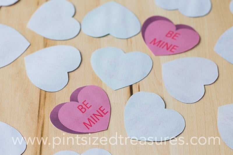 conversation hearts memory game printable
