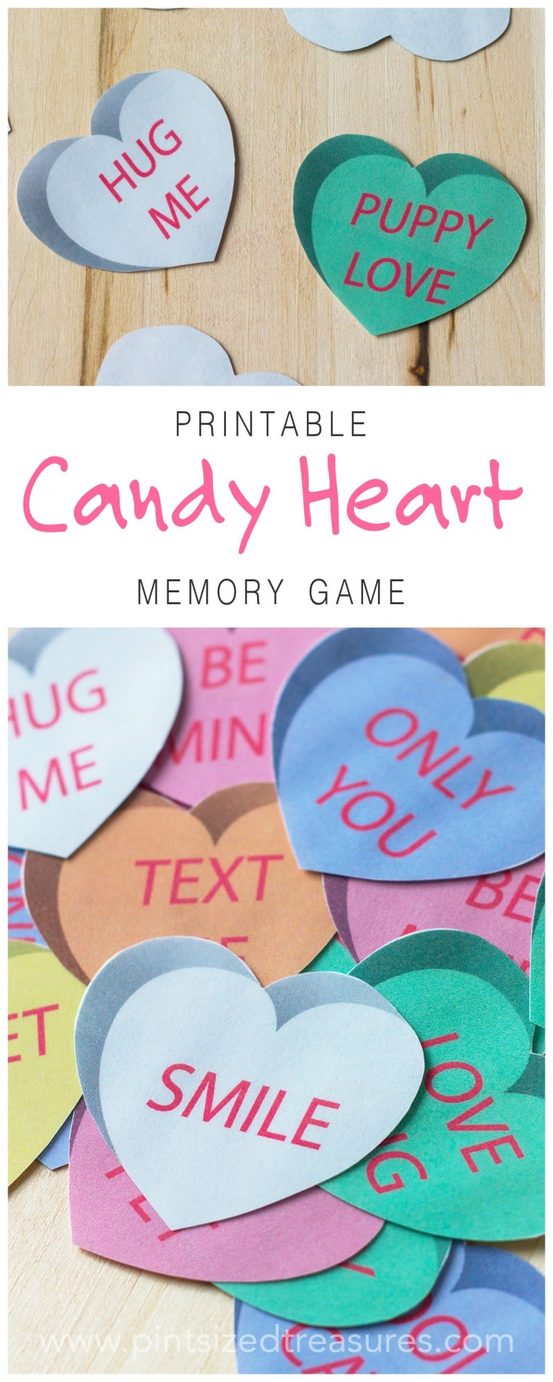 Conversation heart memory game for kids