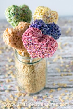 Heart-shaped Rice Krispie Treat Pops