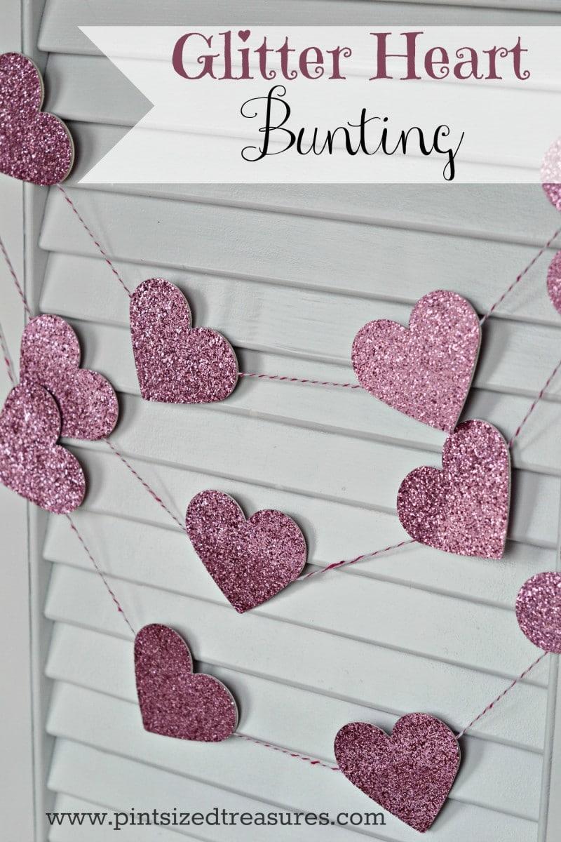 Easy glitter heart bunting