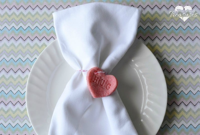 salt dough hearts napkin rings