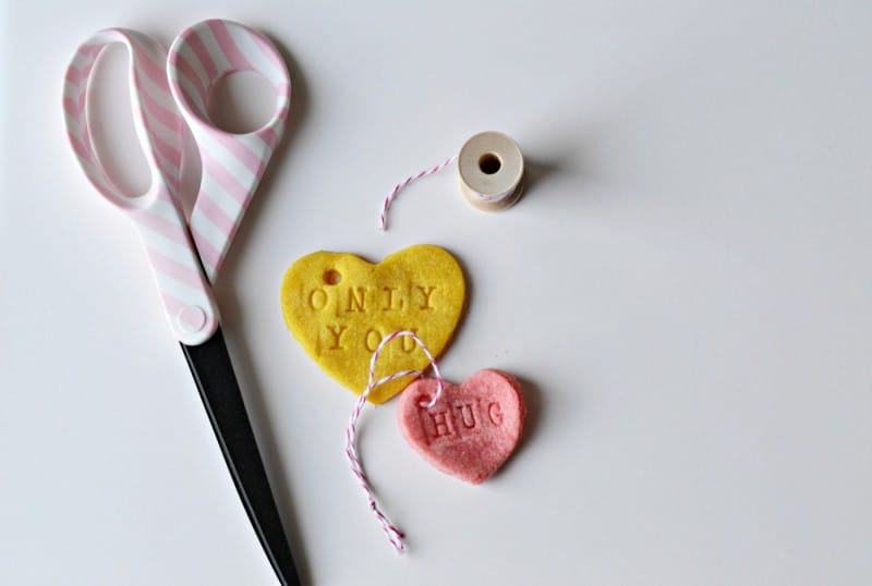 Salt dough hearts materials