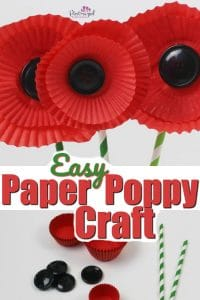 Kids will love this adorable, paper poppy craft that's made from cupcake liners! #papercraft #springpapercrafts #spring #poppycraft #poppies #remembrancedaycraft #patrioticraft #easypapercrafts