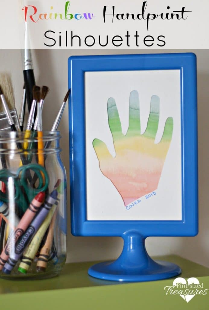 rainbow handprint silhouette art craft for kids