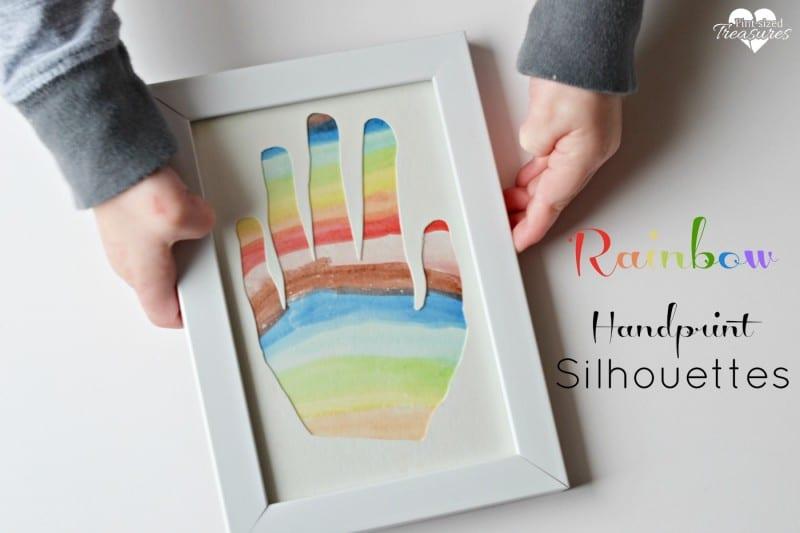 rainbow handprint silhouette art craft