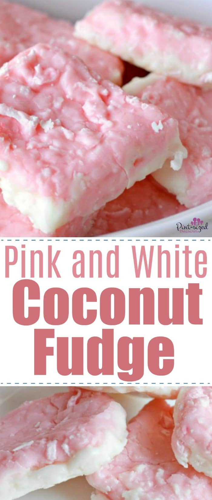 Pink and white coconut fudge is the perfect fudge fix for spring! Enjoy the prettiest fudge on earth! #easyfudgerecipe #springtreats #coconutfudge #pinkandwhitefudge #pinkandwhitetreats #pinktreats #coconutfudge #coconuttreats #easydessert #easytreat #coconutfudgerecipe