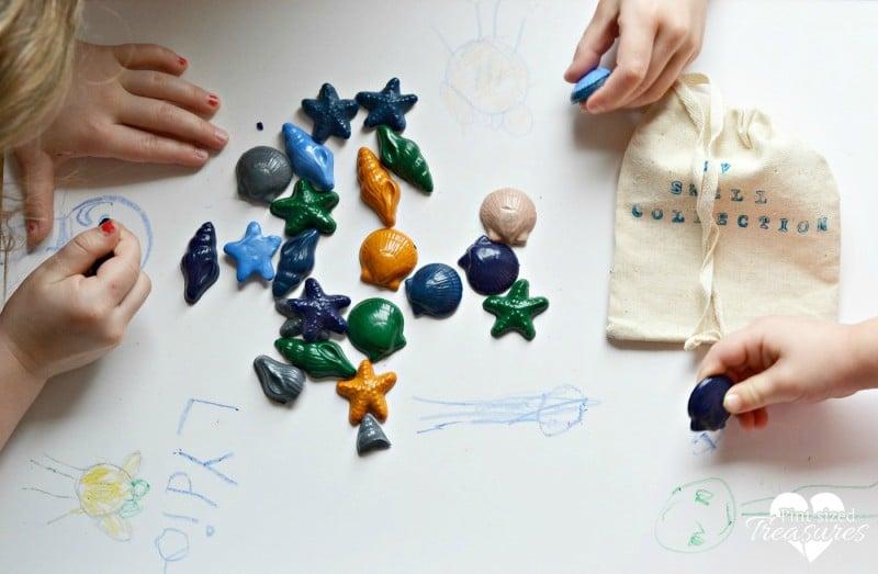 coloring fun with sea creature crayons