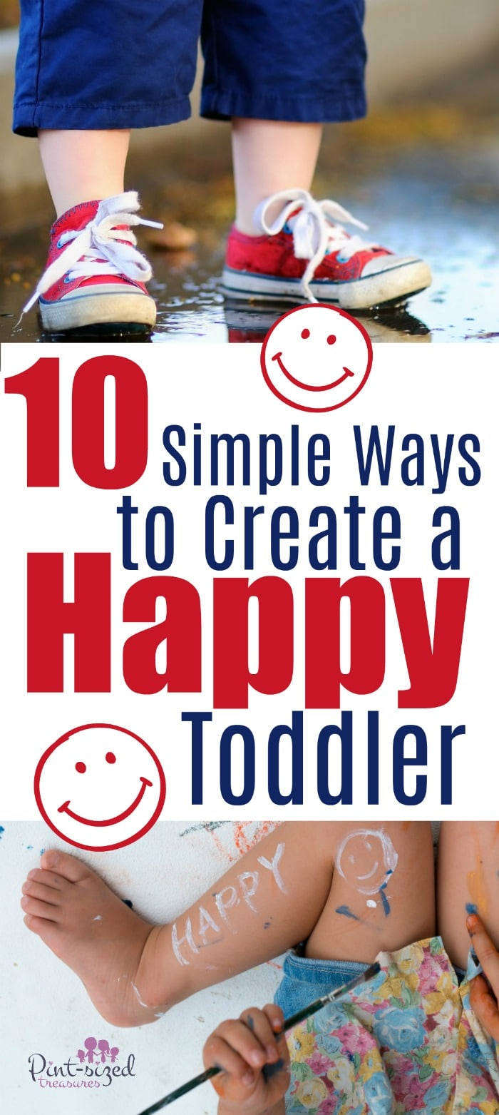 Let's create a world of happy toddlers! Encouraging them, laughing wiht them and praising them are all tiny tidbits that make up  a journey of creating a happy content toddler! Dig into these simple ways today so you can help your toddler enjoy a happy toddler life! #parentingtips #toddlermoms #raisingtoddlers #Kbnmoms #kidbloggernetwork #mommyblog #parentinghelp #parenthood #teachingtoddlers