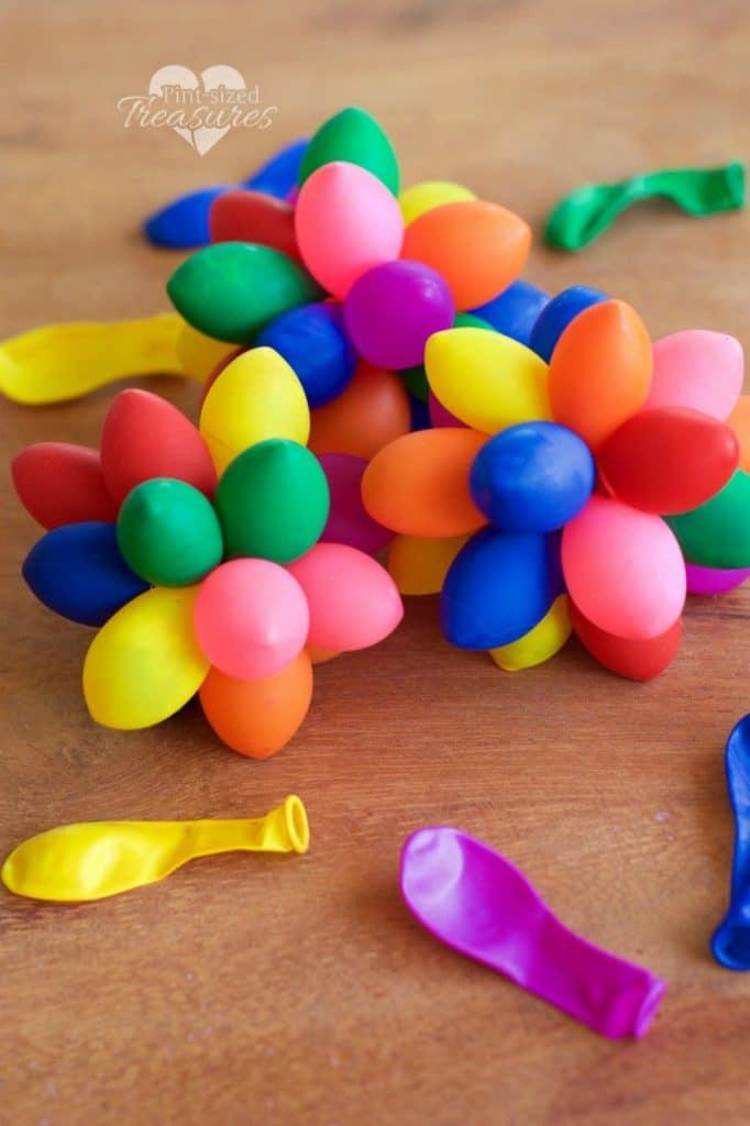 sensory rainbow balloon balls assembled