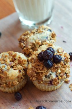 Blueberry Cheesecake Muffins with Granola Topping