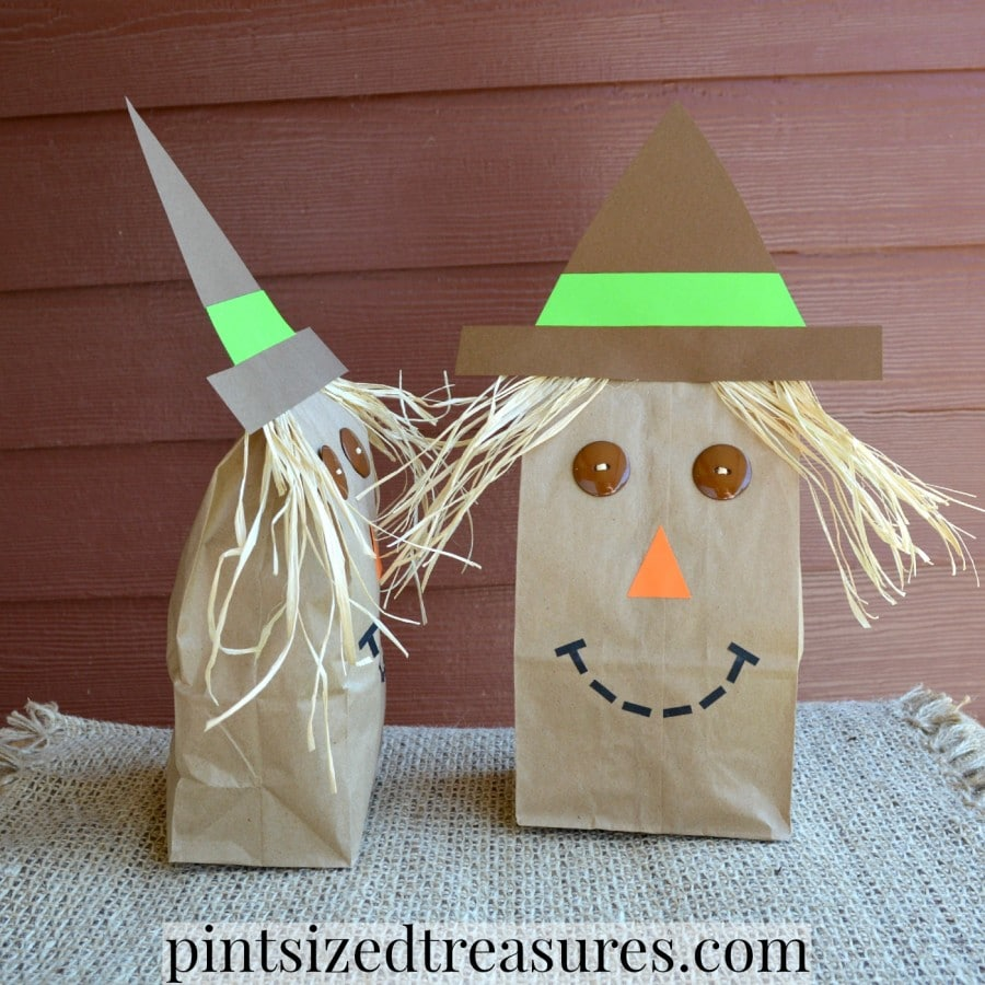 easy paper bag scarecrows craft