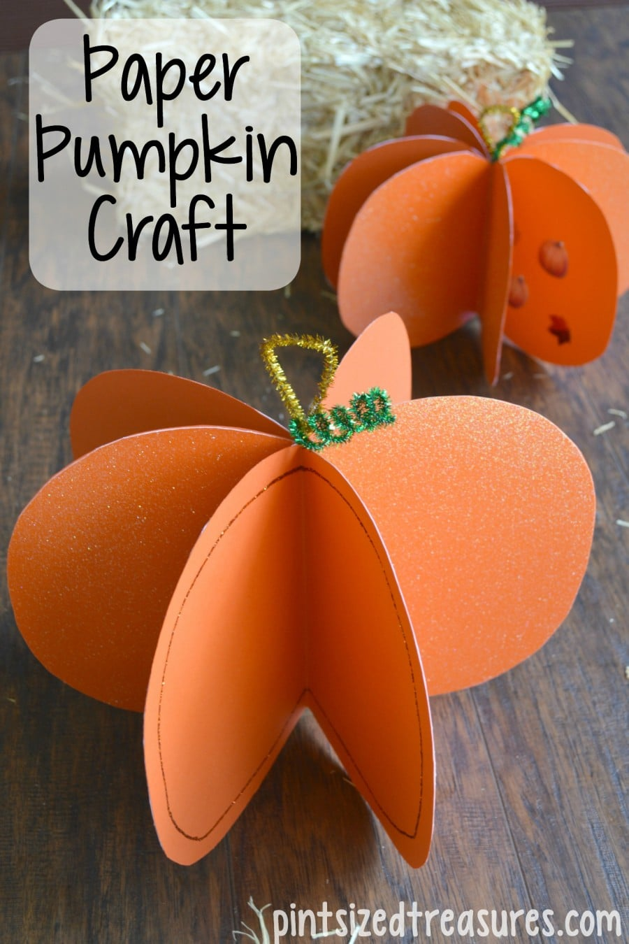 Easy paper pumpkin craft pint sized treasures for Simple fall crafts for kids