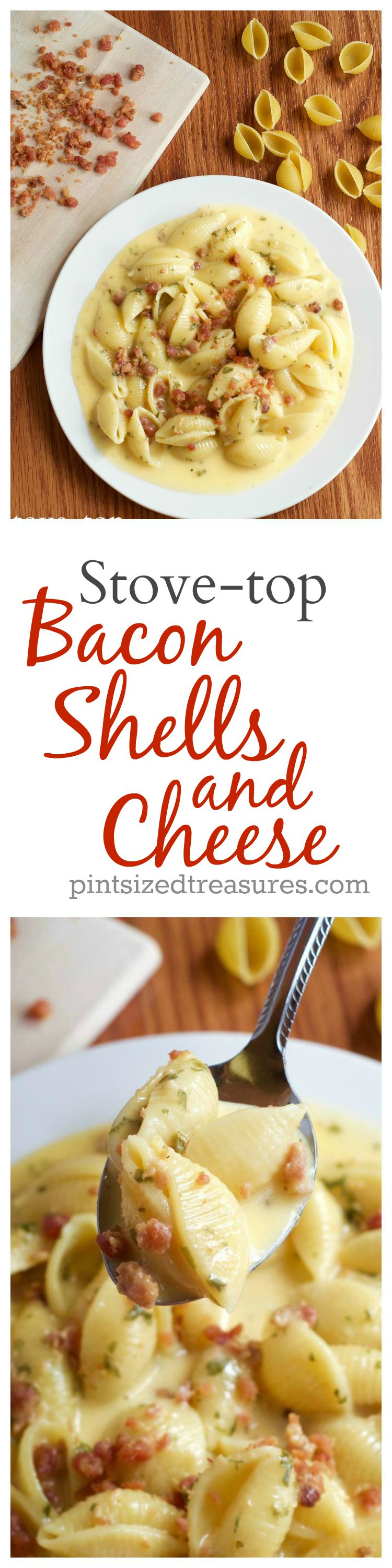 stove-top bacon shells and cheese recipe