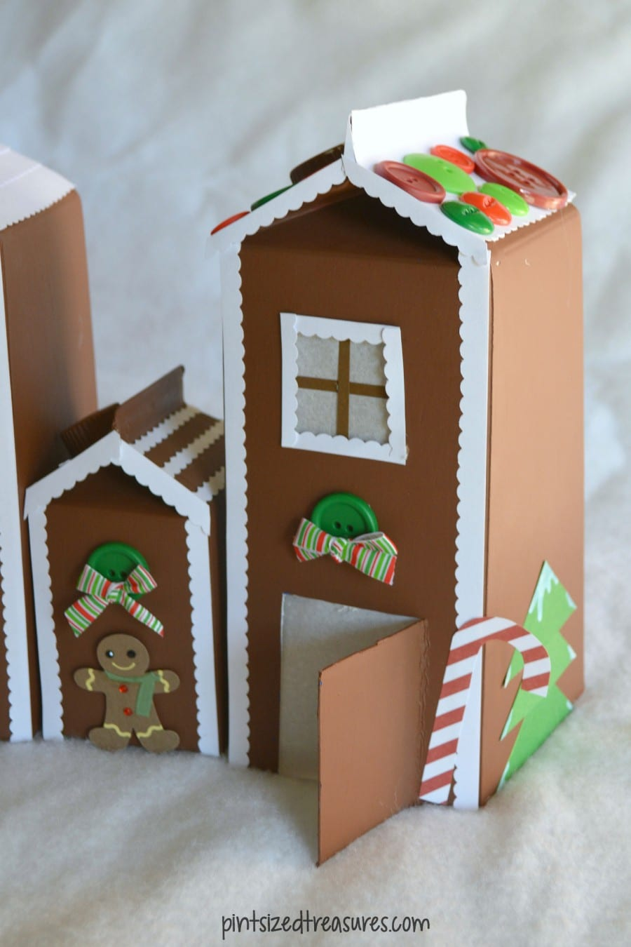 recycled milk carton gingerbread house craft