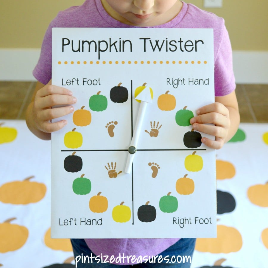 picture regarding Twister Spinner Printable called Do-it-yourself Pumpkin Twister Match · Pint-sized Treasures