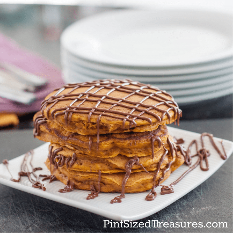 These fluffy pancakes are made with pumpkin!