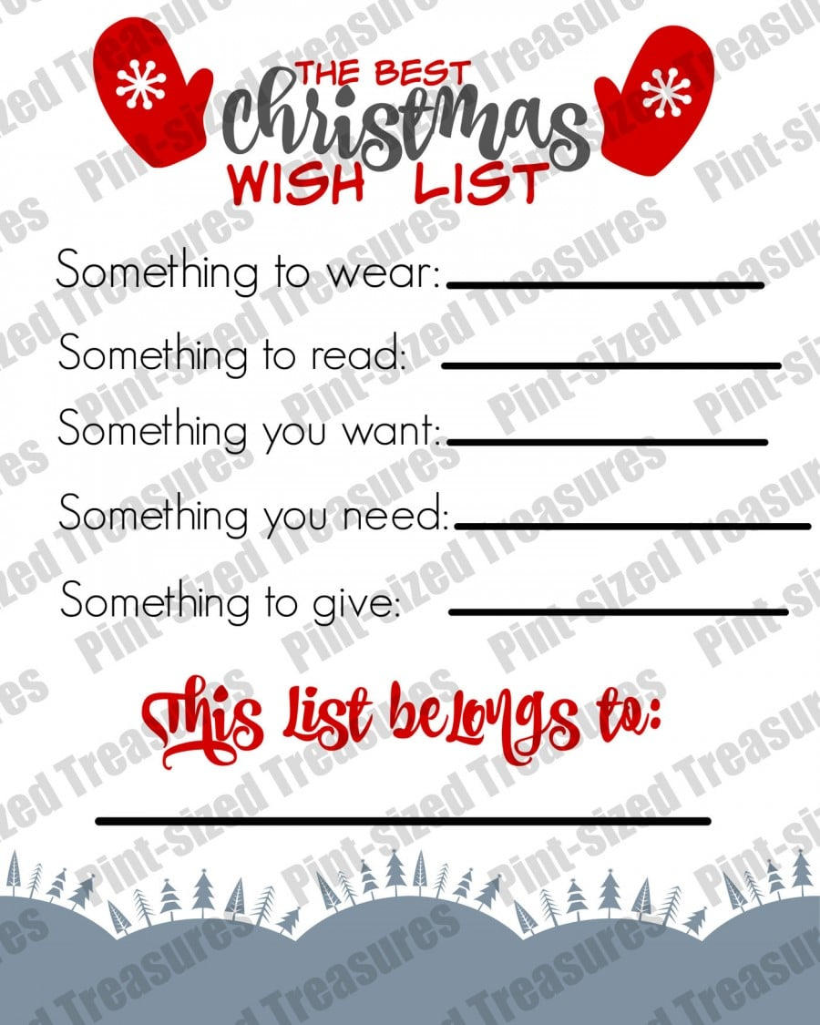 Best Christmas Wish List For Kids  Christmas Wish List Printable