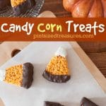 Easy candy corn treats are dipped in candy melting chocolate and shaped into fun shapes to resemble your favorite candy corn! Super simple and yummy! #candycorntreats #ricekrispietreats #ricekrispie #ricekrispietreatsrecipe #candycorninspired #falltreats #chocolatedippedtreats