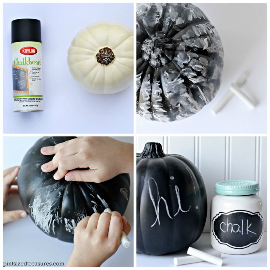 diy pumpkins with chalkboard paint