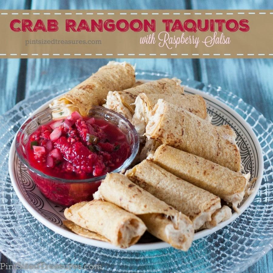 rangoon taquitos with raspberry salsa