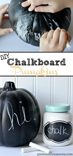 Easy chalkboard pumpkins that kids and moms can make! Easy pumpkin crafts and no carve pumpkins are the best! #nocarvepumpkin #pumpkincraft #chalboardpumpkins #easypumpkindiy #diypumpkin #diy #pumpkincrafts