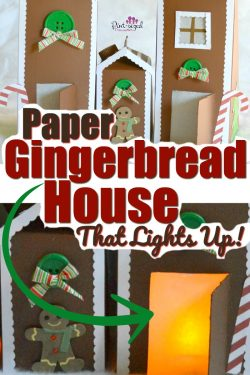 A simple paper gingerbread house that really lights up! Using recycled milk and juice cartons, these adorable gingerbread houses are the perfect Christmas craft for kids! 3Christmas #gingerbreadmen #gingerbreadhouse #Christmascrafts #Christmascraftsforkids #easycraftsforkids #easycrafts #holidaycrafts #tealights #paperChristmascraft