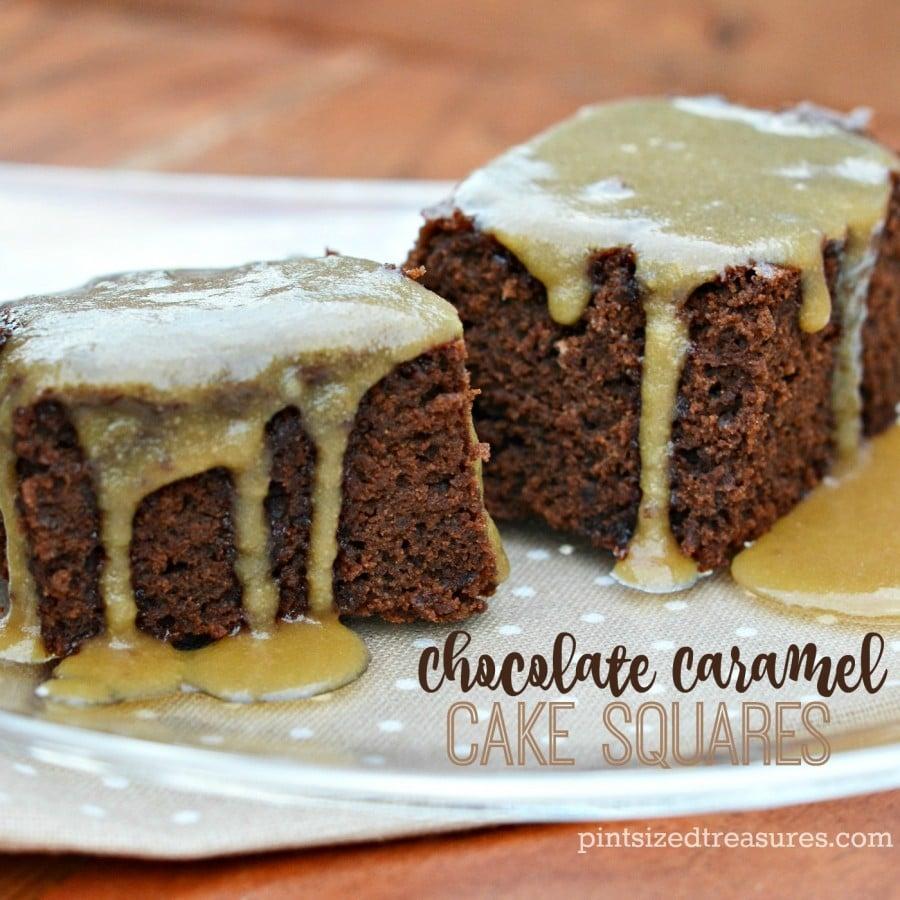 chocolate cake caramel squares
