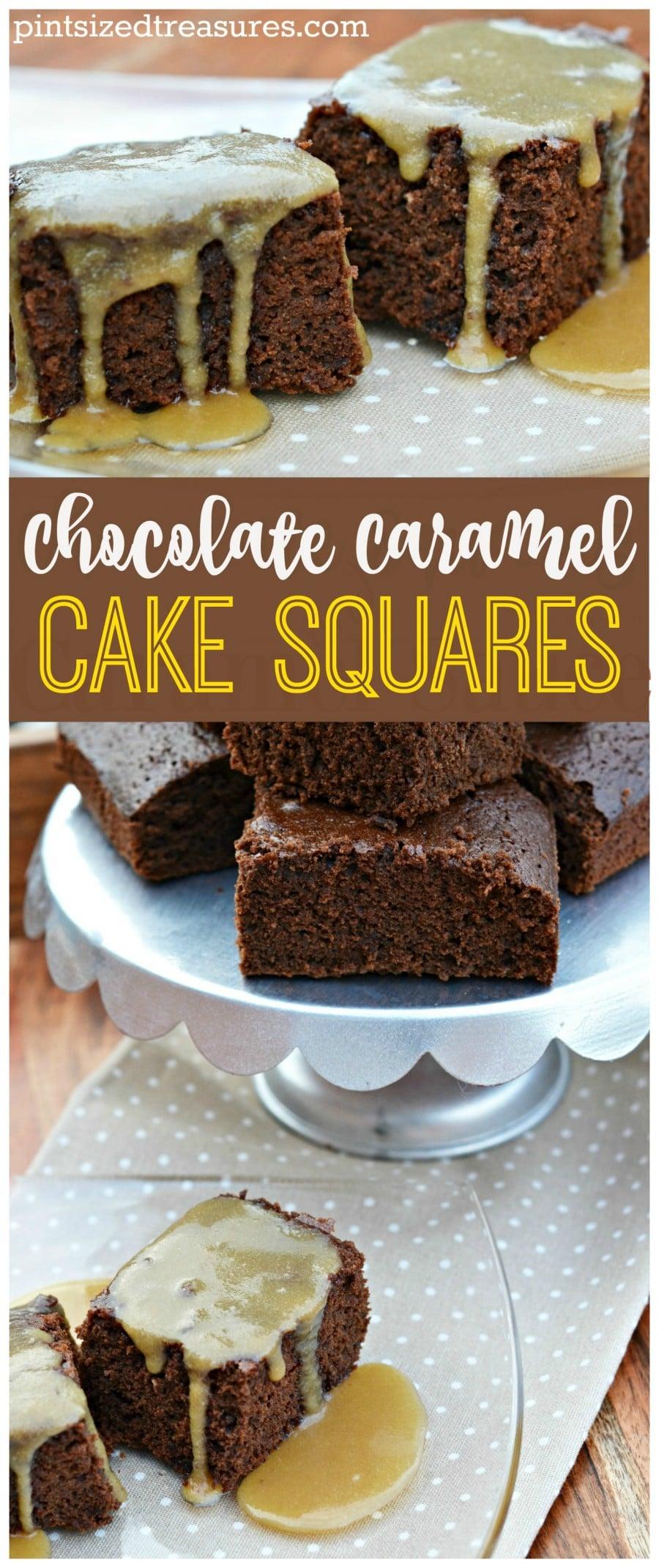 chocolate caramel cake squares