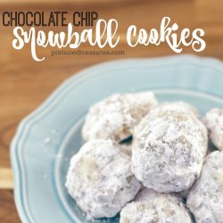A classic Christmas cookie recipe, snowball cookies, are getting all dressed up with hidden chocolate chips inside every bite! So yummy. So perfect. So cookie-exchange worthy! #chocolatechips #snowballcookies #Christmascookies #holidaycookies #easycookies #chocolatecipsnowballcookies #cookieexchangerecipes #easyChristmascookies #baking #cookiebake
