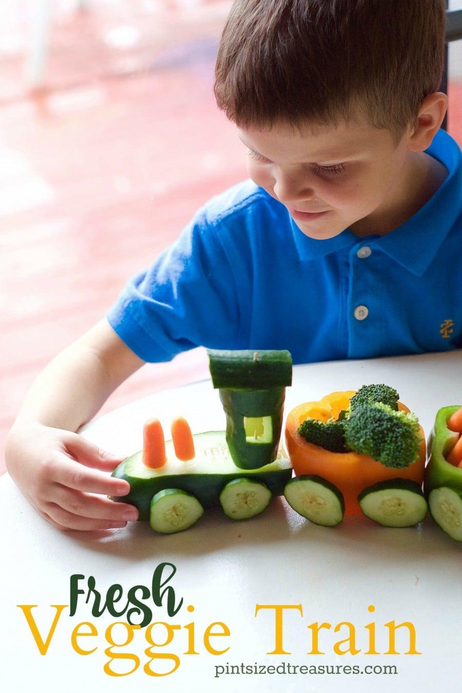 veggie tray made into a train