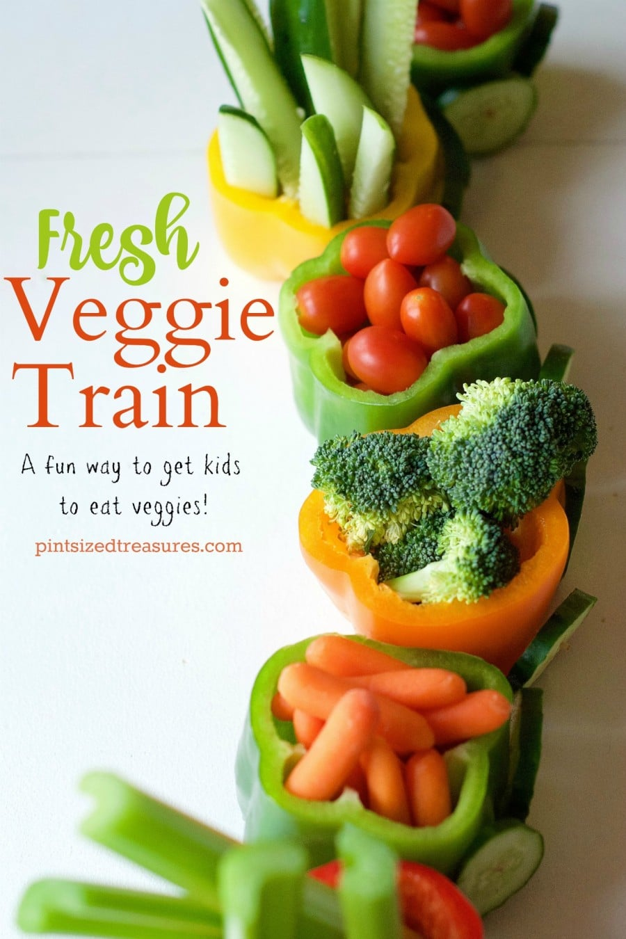 veggie tray made into a train