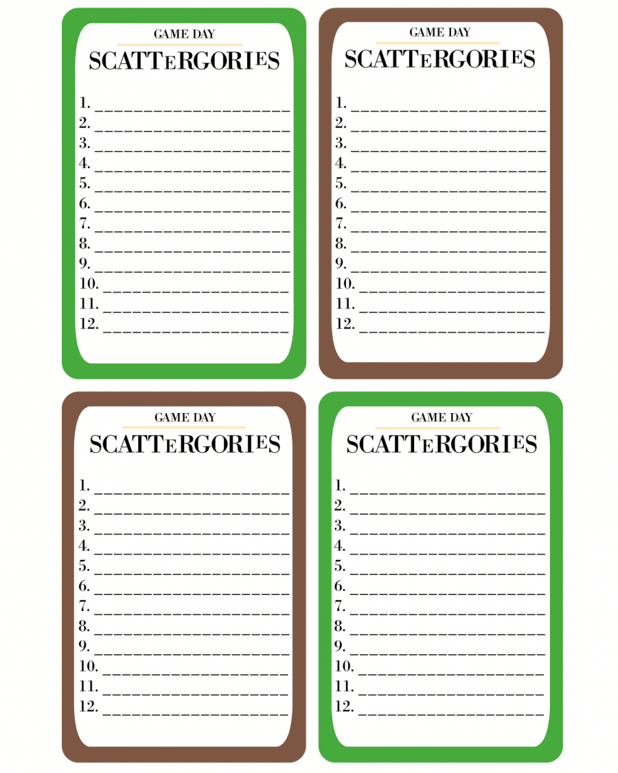 photograph regarding Printable Scattergories identify Printable Recreation Working day Scattergories · Pint-sized Treasures