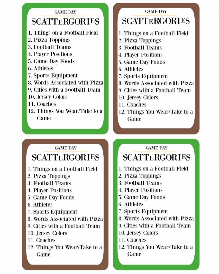 photograph relating to Printable Scattergories identified as Printable Sport Working day Scattergories · Pint-sized Treasures