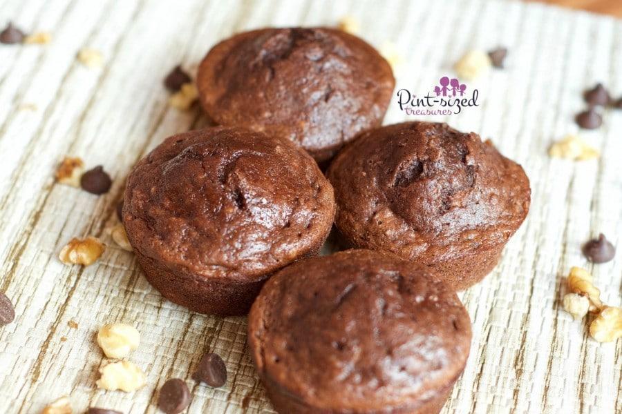 breakfast triple chocolate banana nut muffins
