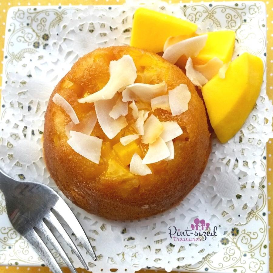 upside down mango cake