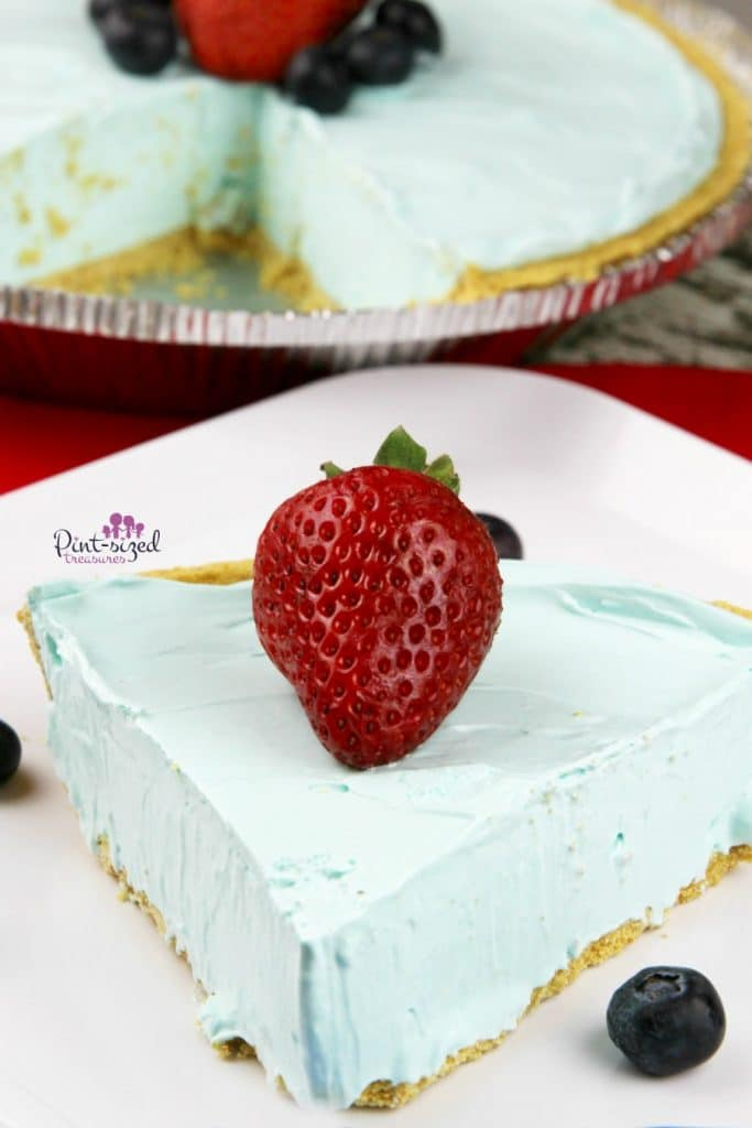 No Bake Blue Raspberry Kool-Aid Pie