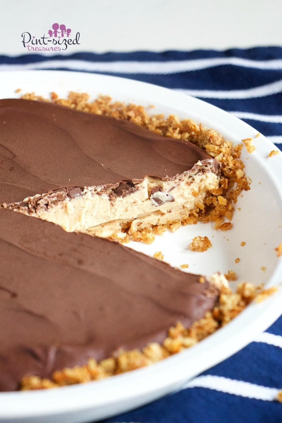 Peanut Butter Chocolate Cheesecake With Pretzel Crust